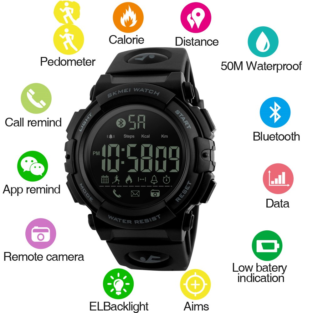 2019 Fashion Men's Smart Watch Pedometer Calories Waterproof Fitness Tracker Call Reminder Bluetooth Watches Sport Smartwatch image