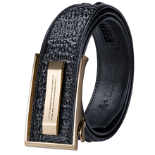 Hi-Tie Crocodile Designer Luxury Genuine Leather Belts for Men Casual Jeans Belt Strap Gold Automatic Buckle Black PD-2036