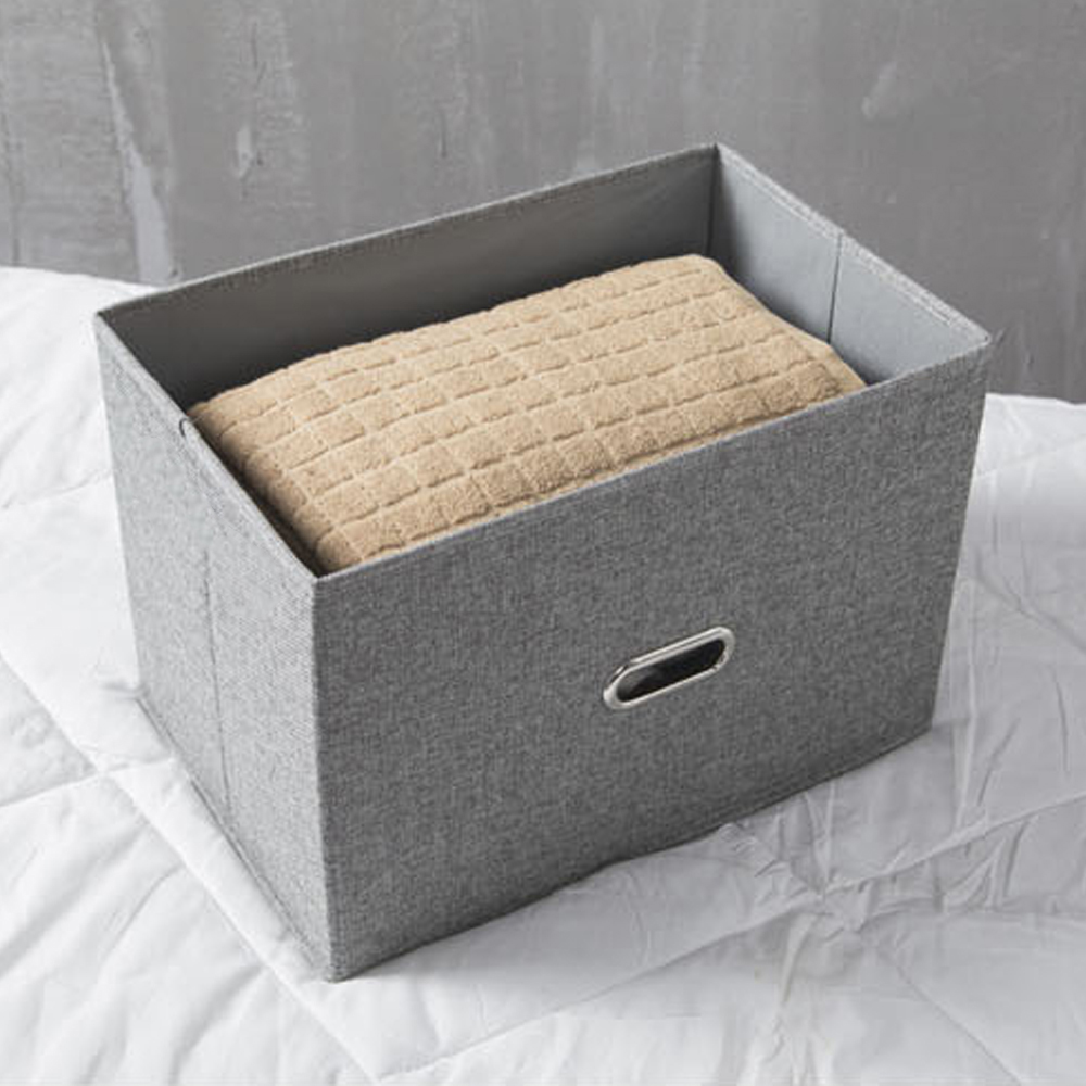 Storage Boxes Home Textile Cotton And Linen Storage Box Drawer Folding Gray Solid Line Box Home Clothing Organizer Square
