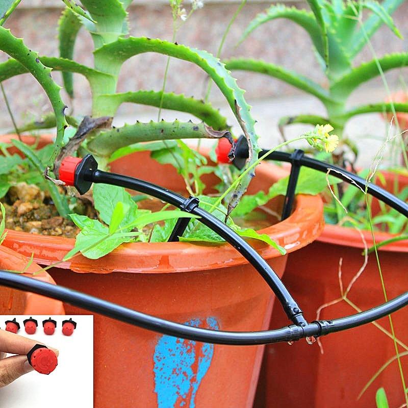 25 Pcs 8 hole Garden Irrigation Misting Micro Flow Dripper Drip Head 1/4'' Hose Drip irrigation system Watering
