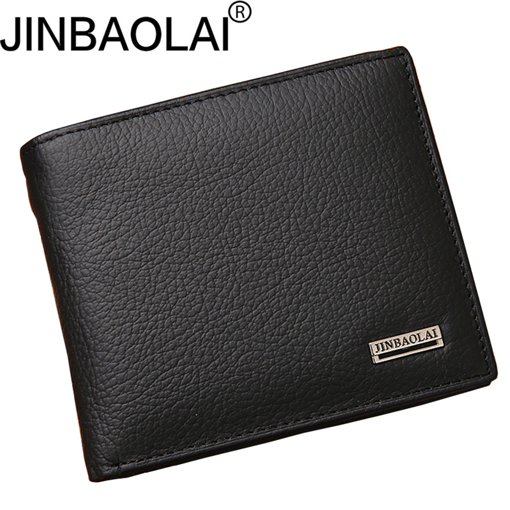 JINBAOLAI Short Genuine Leather Men Wallets Fashion Coin Pocket Card Holder Men Purse Simple Brand High Quality Male Wallets