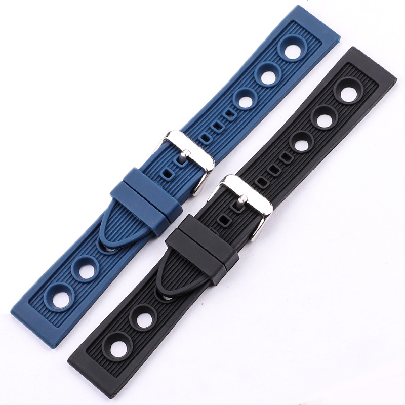Silicone Watchbands 22mm Black Blue Women Men Waterproof Soft Rubber Watch Strap Bracelet With Stainless Steel Polished Buckle
