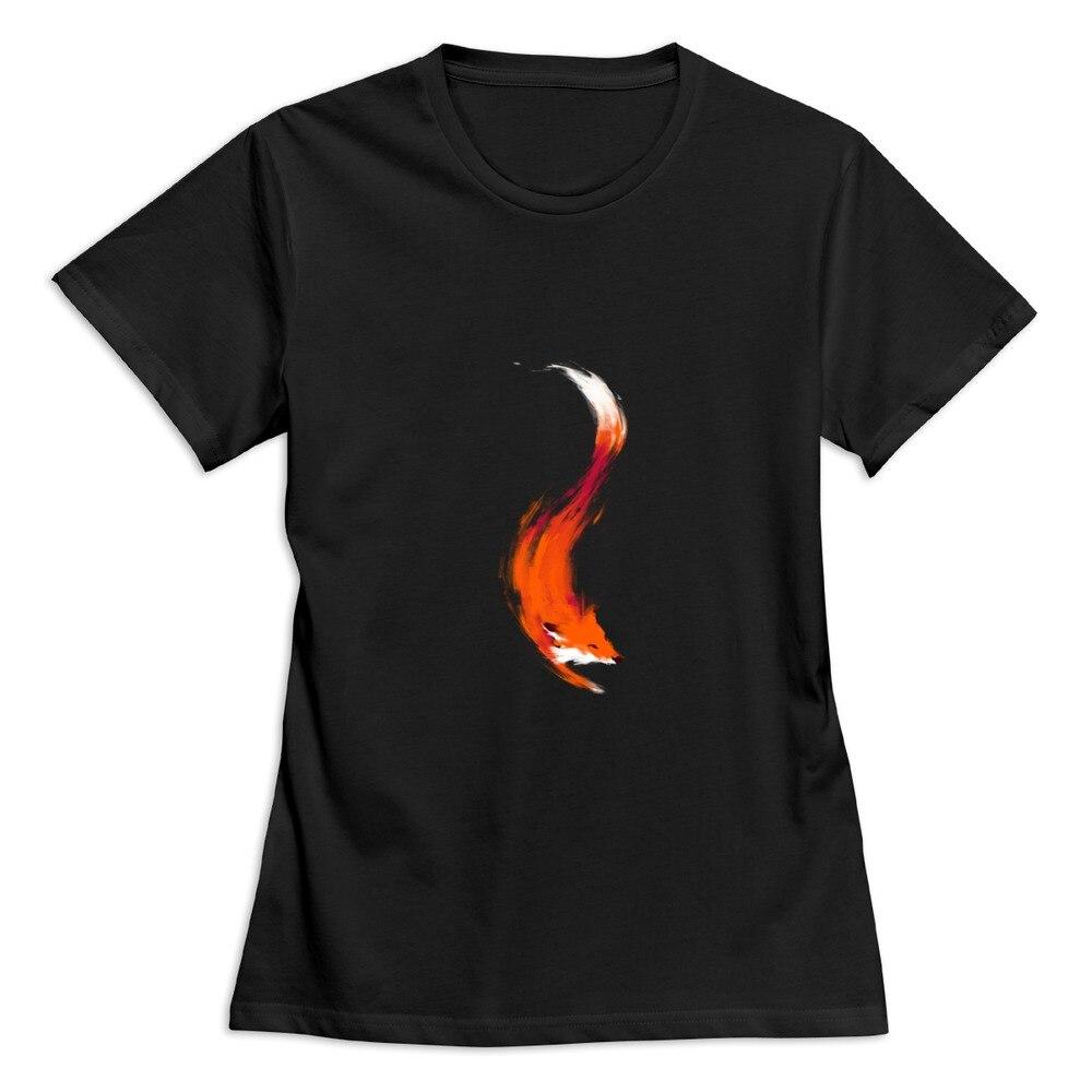 Promotion Organic Cotton Orange Red Fox Women's t-shirt Woman t shirts