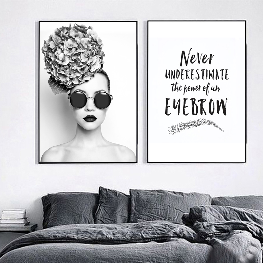 Flower Fashion Girl Eyeflash Wall Art Canvas Painting Nordic Posters And Prints Pictures For Living Room Bar Decor
