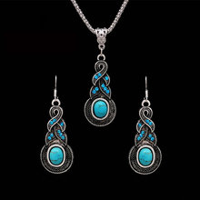 Bohemian Tibetan Silver Color African Beads Jewelry Sets for Women Wedding Costume dubai Jewelry Sets Crystal Necklace Earrings