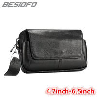 Genuine Leather Zipper Pouch With Belt Shoulder Bag Hook Loop Holster Phone Case For Samsung Galaxy Note 3 4 5 6 7 Note 8 Note 9