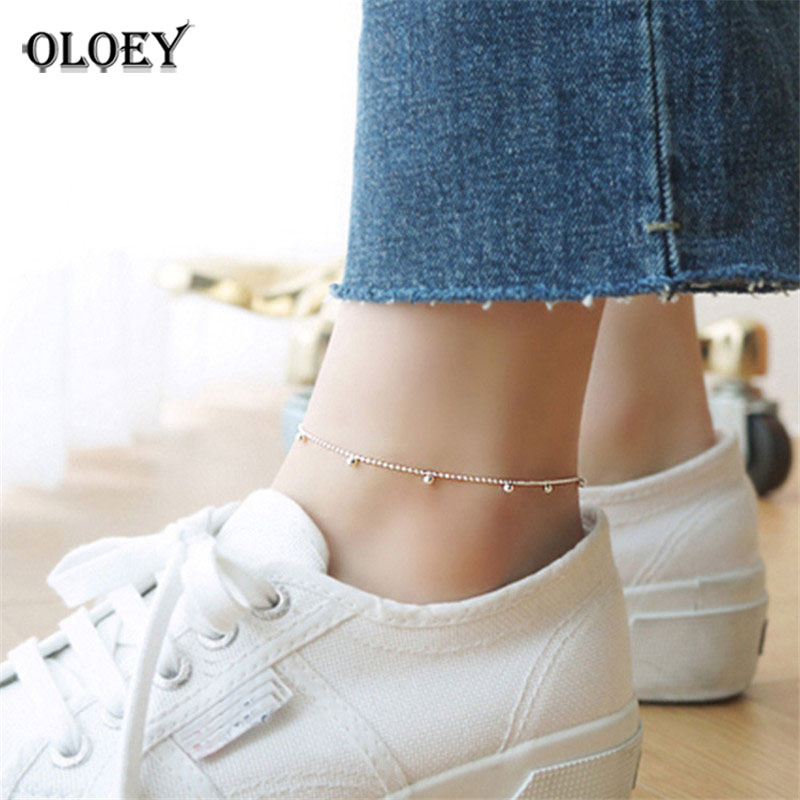 Simple Beaded Charm Anklet For Women Girls 100% Real 925 Sterling Silver Foot Bracelet Fine Accessories Jewelry YMA012