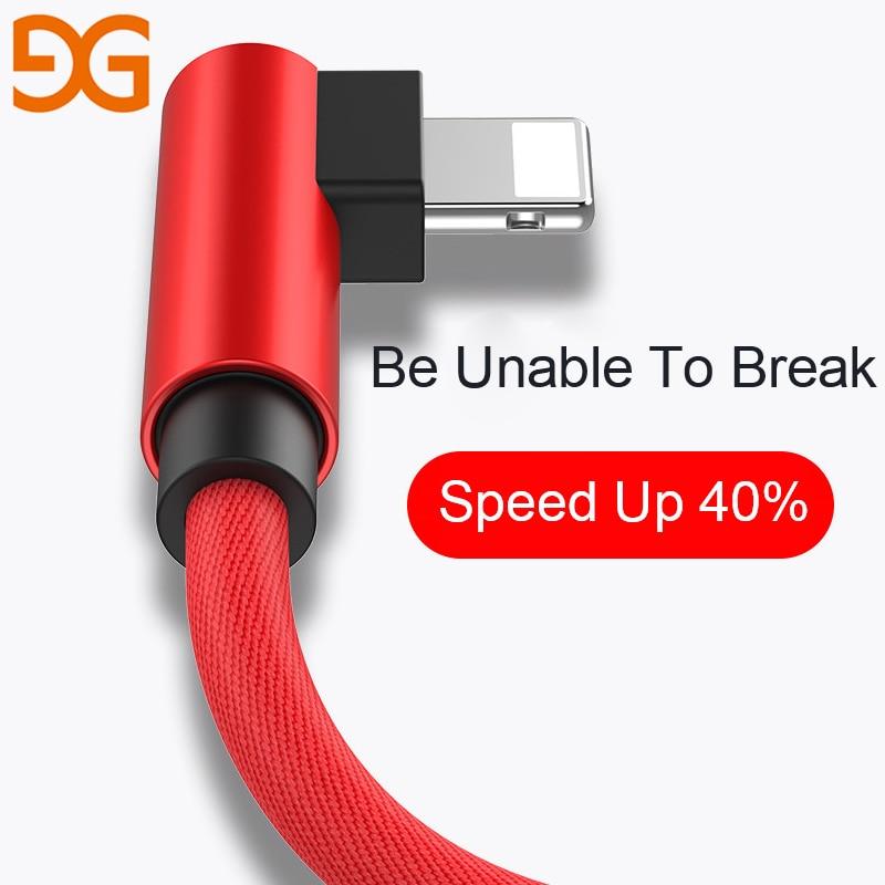 GUSGU 90 Gradi Cavo USB Per iPhone X 6 6 s 7 8 Ricarica Veloce cavo Per iPad Cavo del Caricatore del USB L Tipo Di Cavo Dati Per iPhone 5 SE