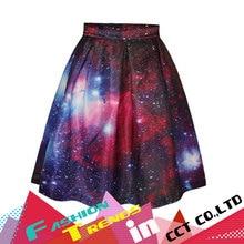 Fashion Faldas Women's Purple Galaxy Printed Skirts Famous High Waist Flare Pleated Spring Latest Vintage A Line Midi