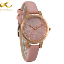 Dull Polish Woman Watches Brand Lancardo Quartz Ladies Watch Women Fashion&Casual Wristwatch Pink Leather Girl