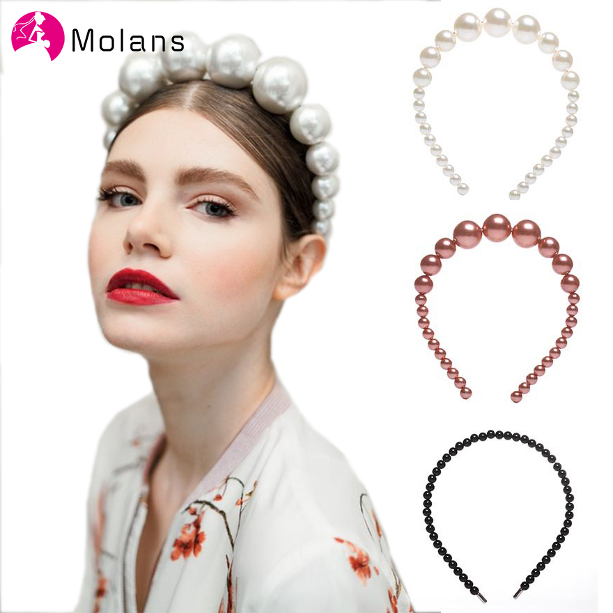 Molans 2019 Fashion Solid Hairband Big Beautiful Pearl Headband Different Sizes Pearl For Women Hair Hoop Hair Accessories