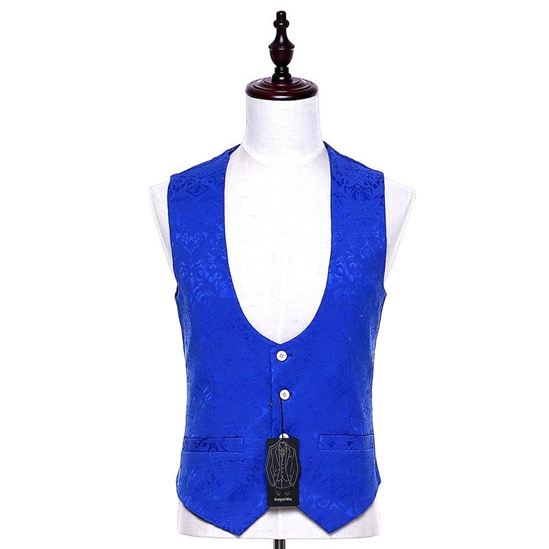 Suit Vest Blazer Waistcoat Slim-Fit Fashion Royal-Blue Colete Masculino Custom-Made Floral-Pattern