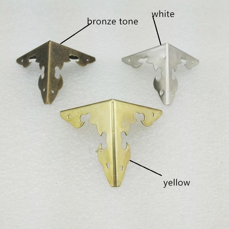Case Box Corners For Furniture Decor Triangle Flower Side,Wooden Box Corner,Bronze Tone/Yellow/White,30*30mm,4Pcs
