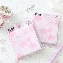 Sticky Note Stationery Blossom Pink Sakura Memo School-Supplies 80-Sheets Office Cherry