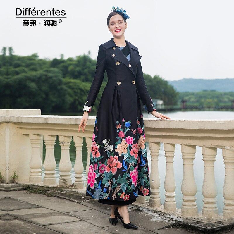 À Femmes Boutonnage Hiver Style Tranchée Long Dz2011 2018 Manteau Fleurs Double Pardessus Britannique Automne gwvaWqER