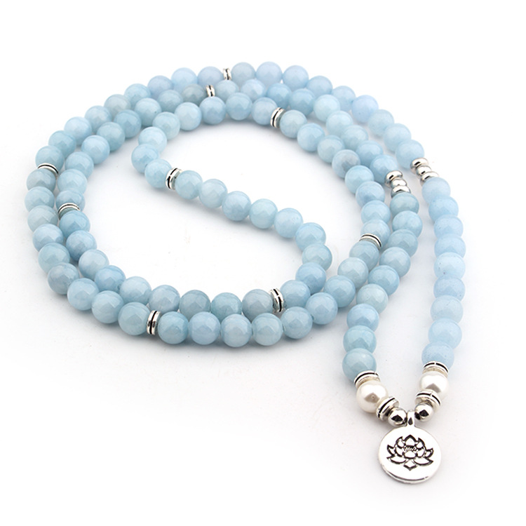 Women's Pastel Blue Natural Stone Lotus Bracelet 4