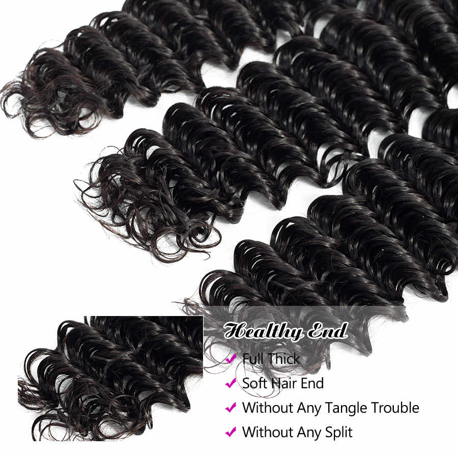 Hermosa Brazilian Deep Wave Bundles With Closure Double Weft Remy Human Hair Weave 3 Bundles With Closure Natural Black