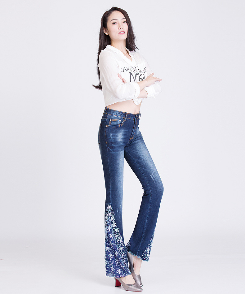 KSTUN FERZIGE New Jeans Woman Embroidered Trousers Lace Bell Bottoms Design Light Blue Stretch High Waisted Jeans Sexy Ladies Mujer 36 13