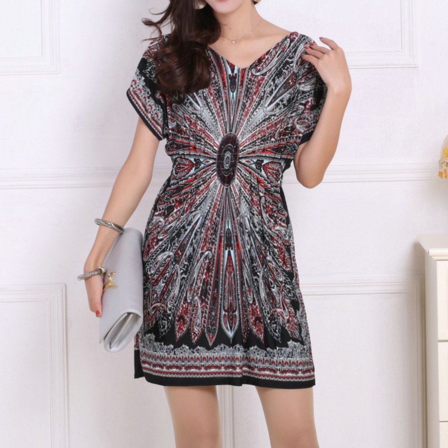 vestido feminino women plus size summer dresses 2019 Loose Ethnic Print Skater Batwing sleeve tunics vin tunic dresses elegant