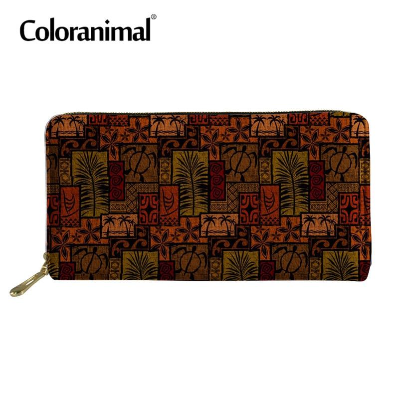 Coloranimal PU Purse Print Wallet Card-Holder Phone-Coin Fashion Long Tropical-Plant