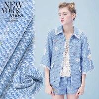 Hot Autumn and winter new Blue bay weaving tweed fabric for dress coat telas por metros tissu au metre tecido tela shabby chic