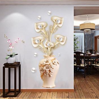 3D jarrón papel tapiz belleza etiqueta de la pared del refrigerador flor sala de estar dormitorio Decoración Accesorios pegatinas de pared póster autoadhesivo