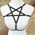 Mujeres de la Ropa exótica negro pentagram Arnés arnés de cuerpo jaula jaula sujetador Harajuku Gótico lencería sexy Hecho A Mano sujetador Envío gratis