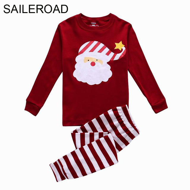 aea83425e9 SAILEROAD 2-7Years Christmas Clothes Children Kids Nightclothes Autumn Winter  Boys Girls Pajamas Suits Kid Santa Claus Sleepwear