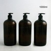 2 unids Bomba Grande 33 oz De Vidrio Ámbar Boston Botellas Ideal para Lociones Aromaterapia y Más de 1000 ml de Jabón Líquido vacío Recipiente Redondo