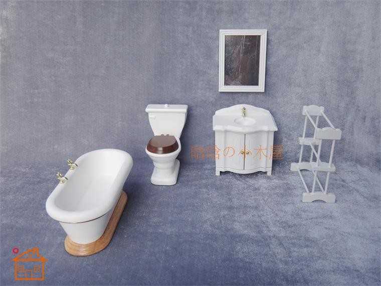 1:12 Scale Dollhouse Miniature Furniture Bathroom Cabinet Toilet Mirror Gifts