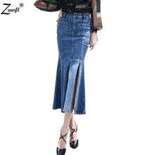 Zawfl Высокое качество Роскошный Подиум Весна Лето Мода Тонкий Русалка Стиль Высокая талия длинная джинсовая юбка