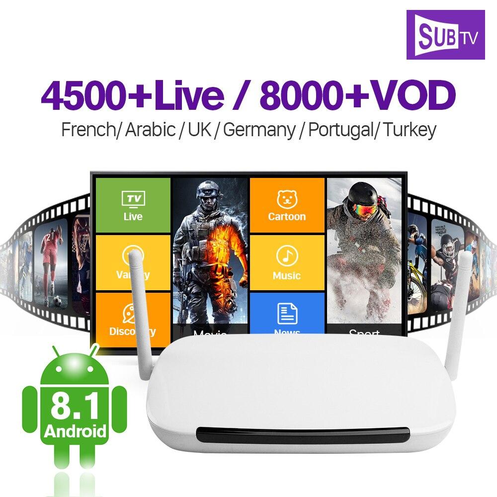 4 k Francia Arabo IPTV Q9 Ricevitore TV Android 8.1 Box 1g 8g Quad-Core Con SUBTV abbonamento IPTV Francia Arabo Italia IP TV
