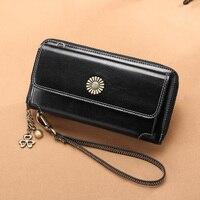 SENDEFN new leather ladies wallet Korean zipper multi function wallet leather ladies long clutch bag mobile phone bag