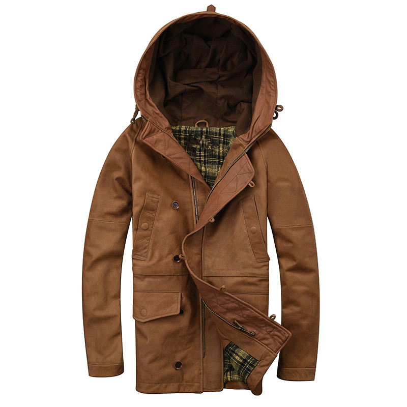 HARLEY DAMSON Brown Long Men Hood Casual Leather Jacket Plus Size 3XL Winter Genuine Thick Cowhide Russian Leather Coat