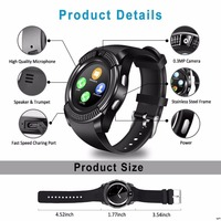 men waterproof Smart Watch Bluetooth touch screen Android waterproof sports men and women smart watch with camera SIM card slot V8 PK Y1 A1 (3)