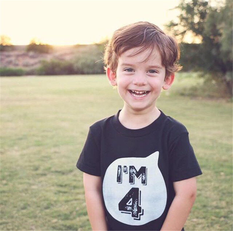 T-Shirts Outfit Birthday-Party Black Little Tops Girl Baby Boys Children's Summer White