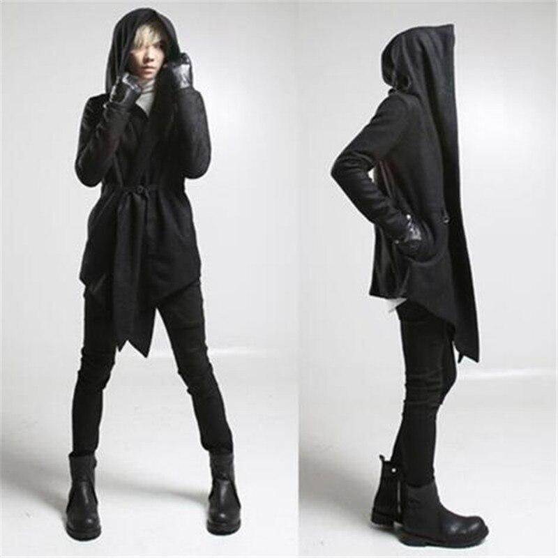 Utumn hiver hommes style gothique à capuche trench manteau noir punk personnalité manteau robe hommes en laine long manteau cape hip hop pardessus