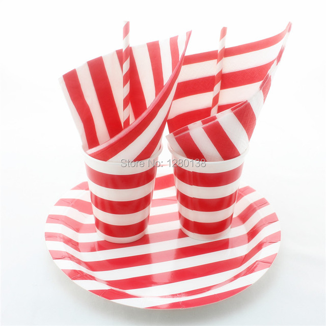 Red Striped Party Tableware Set Disposable Paper Plates Cups Drinking Straws Wedding Party  sc 1 st  AliExpress.com & Red Striped Party Tableware Set Disposable Paper Plates Cups ...