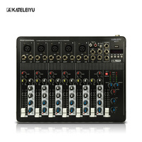 Audio Mixer with USB 4 Channel F7 Mixer Home Audio Console DJ Equipment 48V Phantom Power Supply with Bluetooth Stage Equipment