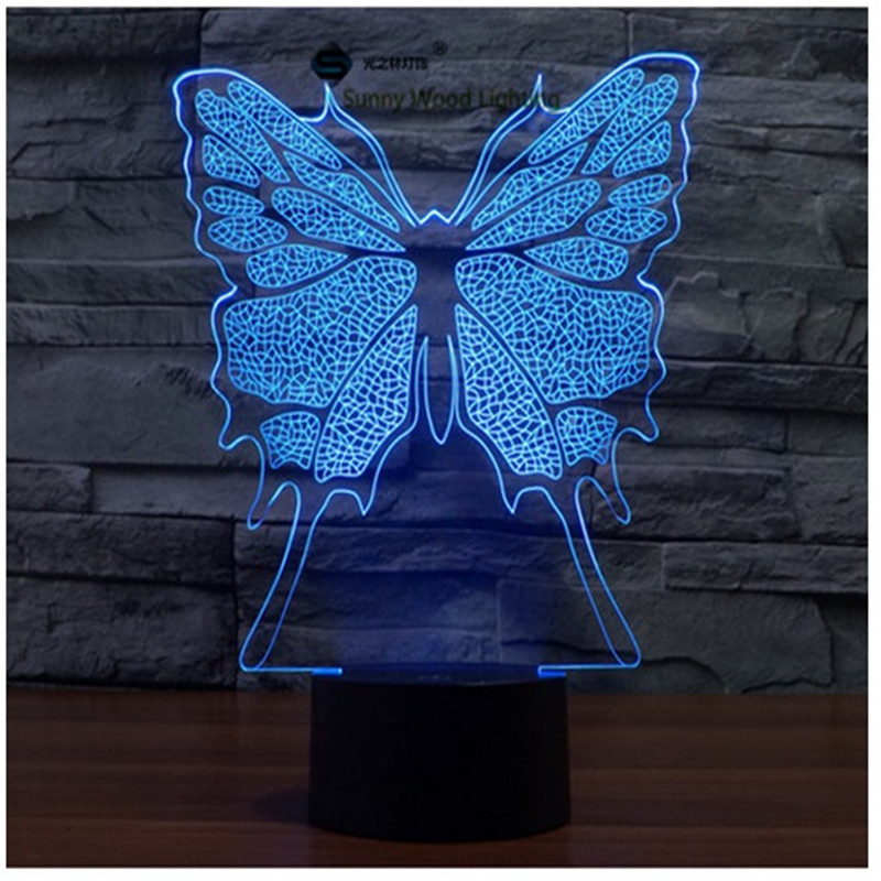 Butterfly switch LED 3D lamp ,Visual Illusion 7color changing 5V USB for laptop, desk decoration toy lamp