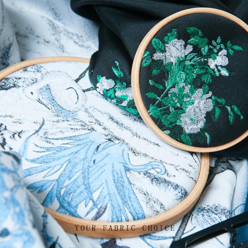 Jacquard couture fashion fabric, Crane pattern, Chinese Painting ...