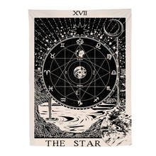 Vintage European wall hangings witchcraft Bagua tapestry sun moon star dorm room headboard arras carpet astrology blanket