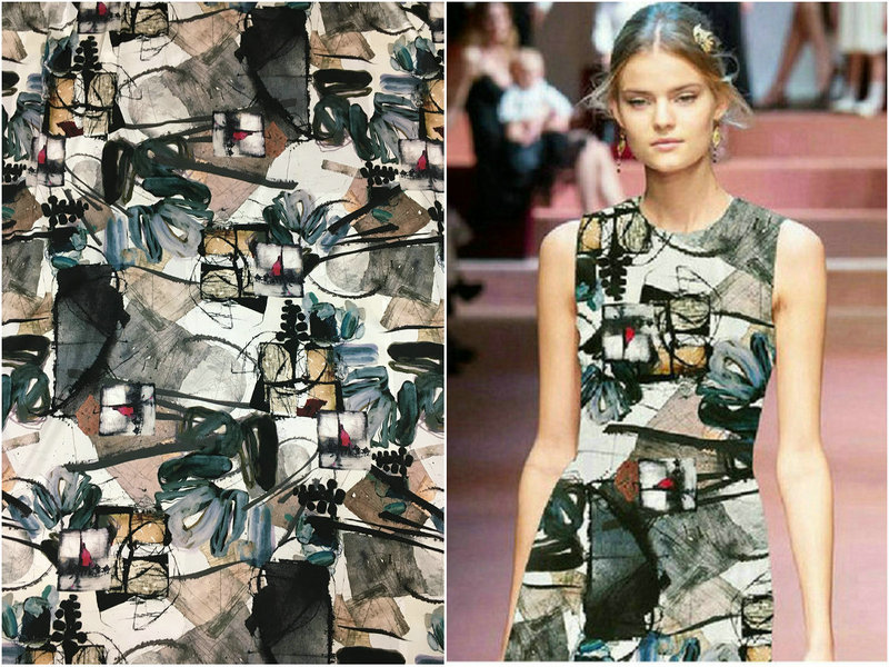 19 มม. กว้าง 108 ซม. ผ้าไหม spandex waxy graffiti digital silkwashed ผ้าไหมซาตินผ้าสำหรับเสื้อชุดผ้า-ใน ผ้า จาก บ้านและสวน บน   1