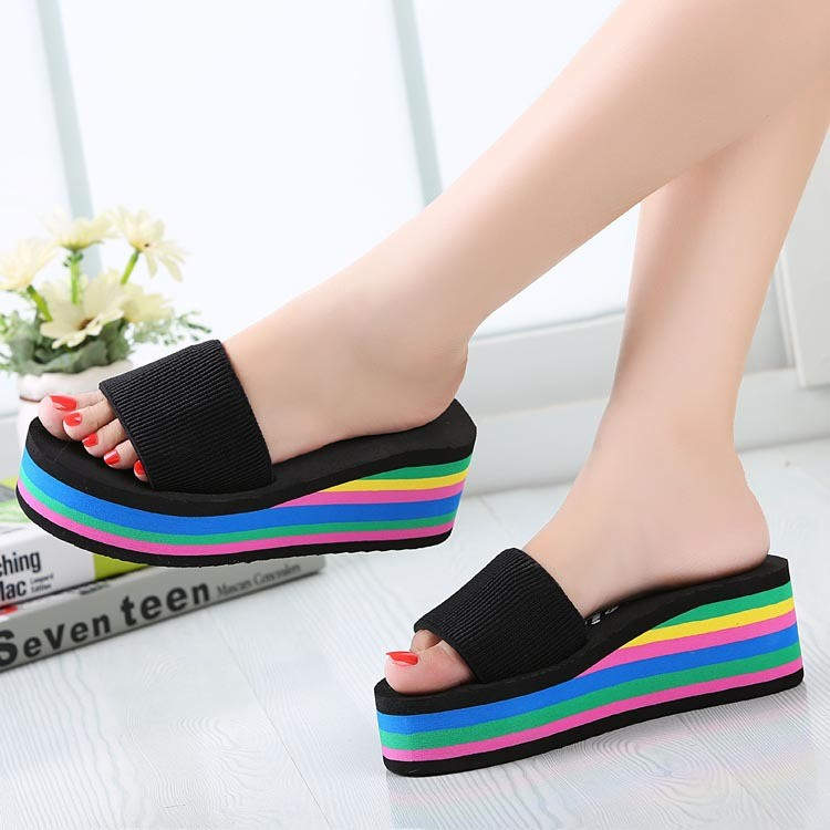 Summer Women Sandals Wedges 2017 Platform Slippers Rainbow Thick Heel Ladies Shoes Women ...