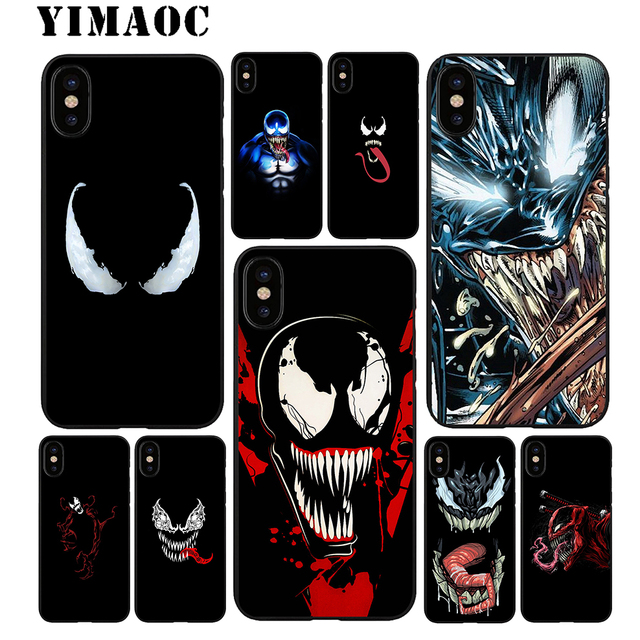separation shoes 49a1e 796e9 US $2.31 23% OFF|YIMAOC Venom Marvel Soft TPU Black Silicone Case for  iPhone X or 10 8 7 6 6S Plus 5 5S SE Xr Xs Max-in Fitted Cases from  Cellphones & ...