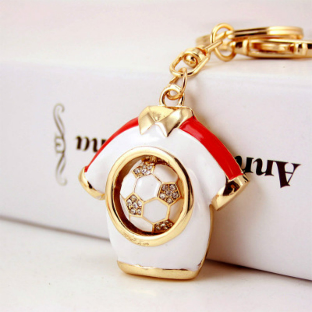 Football Fans Souvenir Gift  Creative Novelty Rhinestone Football Jersey Keychains Diamond Accessories 4 Colours