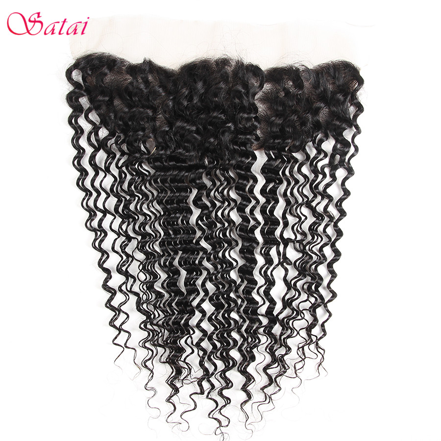 SATAI Hair Deep Wave 13x4 Ear To Ear Lace Frontal With Bleached Knots Natural Color 100