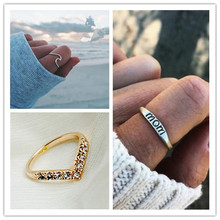 Fashion Simple Rose Gold Rings Set For Women Jewelry Crystal Ring For Women Mother's Day Gift Finger Rings Female Accessories(China)