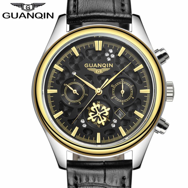 ФОТО Mens Watches Top Brand Luxury GUANQIN Watch Men Casual Leather Quartz Watch Men's Fashion Wristwatch reloj relogio masculino