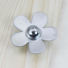 Fashion creative  flower knob silver flower drawer cabinet knob pull matte silver flower dresser cupboard furniture handle